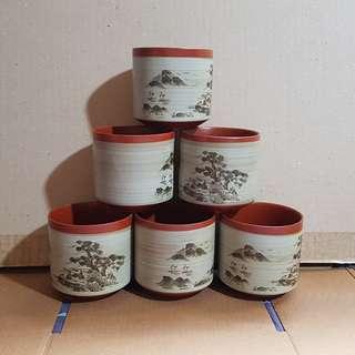 🚚 🔴陶瓷茶杯組,內容物杯子6個
