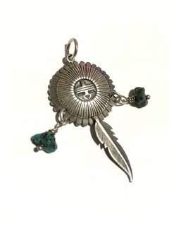 925 sterling silver Native American Zuni sun God feather silver charm pendant with turquoise