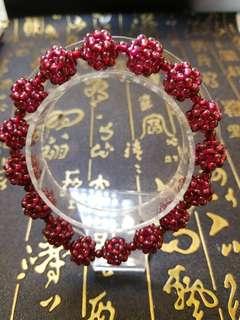 石榴石手串(珠圓10m,共有16粒,間珠4m,共有15粒)