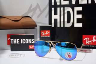 Authentic Ray Ban Aviator RB3025 112/4L 58MM & 62MM Blue Polarized.