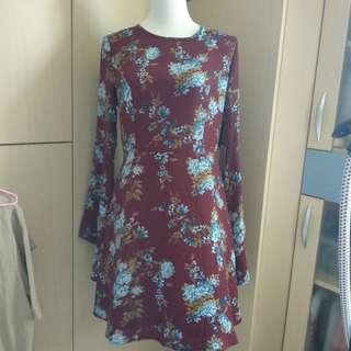 🚚 🌹Forever 21仙女穿的碎花酒紅洋裝