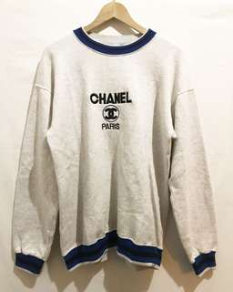 Vintage/Bootleg Embroidered Chanel Sweatshirt in Grey/Blue