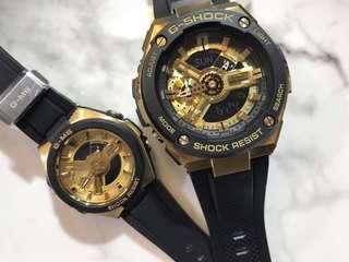 一對價錢 可單隻買 G-Shock G-steel 同 Baby-G G-MS系列 黑金色 GST-400G-1A9 MSG-400G-1A2