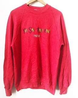 Vintage Embroidered bYSL bootleg sweatshirt in Red