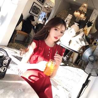氣質高腰復古小女人荷葉邊連衣裙經典小紅裙