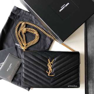 Authentic YSL Black Calfskin Large Monogram Woc