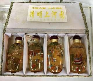 中國內畫-清明上河圖雙面圖案水晶鼻煙壺一套四款 (手工精美,值得收藏)