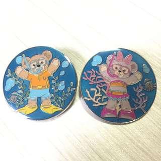 迪士尼 襟章 徽章 Disney Duffy and friends Pin Set