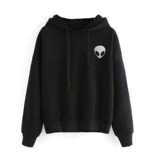 2AO SWEATER ALIEN HITAM Bahan Babyterry LD 102 CM PJG 61 CM (Not Crop) - Hitam