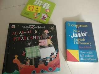 Long man new junior English dictionary, all abiare the pirate ship and pinyin cards