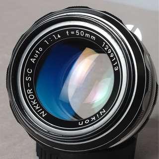lensa manual nikon sc 50mm f1.4 like new bersih dan tajam