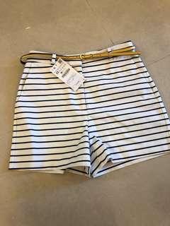 Zara黑白條紋休閒短褲
