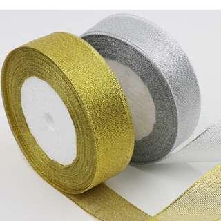 Metallic Ribbon Gold or Silver 2.5cm x 22m