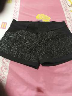 New black shorts with lace design