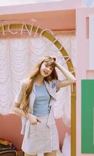 Krispy Kreme聯名韓系條紋套裝(上衣+褲子)
