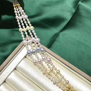 3-8mm正圓微瑕akoya糖果手鏈 長度16cm左右➕18k調節鏈 珍珠之間穿插日本進口軟膠防止摩擦 ‼️  美麗的珠光 單戴疊戴都超級好看。
