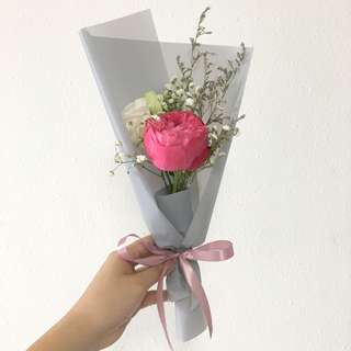 Pink Rose Bouquet with Baby Breath / Birthday Bouquet / Surprise Flowers