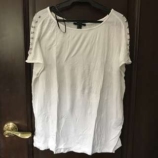 FOREVER 21 White Shirt with studs on shoulder