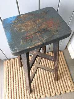 Cool Blue Vintage Tall Stool - for rental