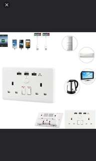 Tri usb wall socket with Fast charge