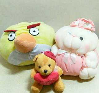 Angry Birds Pillow and Rabbit Stuff Toys with FREE Teddy