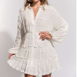 Sonder Stories White fill linen button up mini dress