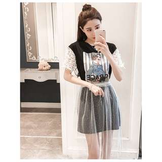 P12833 韓版時尚潮款印花連衣紗裙套裝(連衣裙+網紗裙)