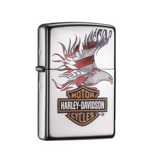 🚚 Zippo Harley Davidson@ Flag Eagle High Polish Chrome 28082