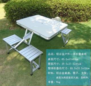 Folding table with chair