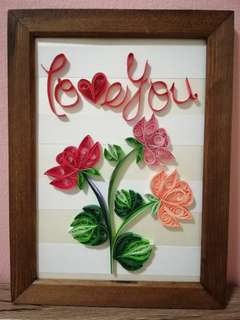 ''Love You'' Paper Quilling craft in photo frame