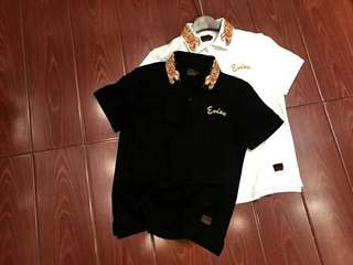 Evisu polo tee in blk or white