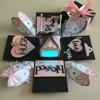Hello kitty explosion box with lighthouse & 4 personalised photos in in black and pink