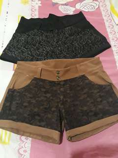 Take 2 Black and Brown laced shorts