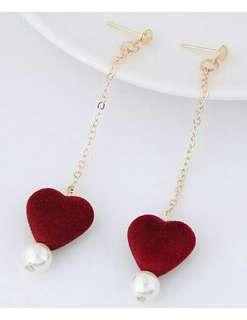 Anting Juntai Red Heart