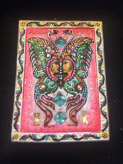 Kruba Krissana Block A Butterfly with Gems and yant by Kruba Krissana