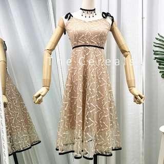 TC2473 Korea Glitter Lace Nude Retro Dress