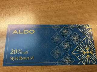 20% aldo foodwear or handbag