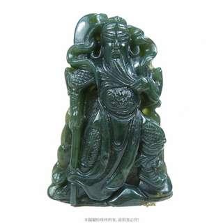 珍珠林~關聖帝君(關公)玉珮~武財神~天然新疆翠玉 #422