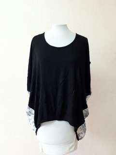High low cotton stretch blouse with chiffon back