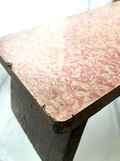 Pink Vintage Wooden Low Stool - for Rental