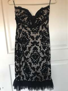 Formal black and white tube dress
