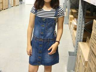 Button overall dress jeans