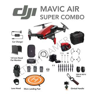 DJI Mavic Air Super Combo (Premium Accessories) **1 Year DJI Warranty + Extended 6 Months Warranty**