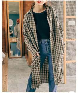 🚚 Mercci22 復古小格子長版外套