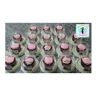 Giveaway Belgian Chocolate Cupcakes with Edible Toppers in Acetate Containers (P65.00 each, minimum order of 20 pcs)