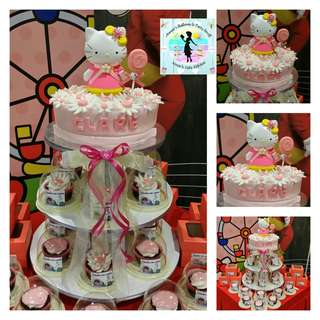 Hello Kitty Cake and Cupcake Tower for Kiddie Birthday Party (Cupcakes in Giveaway Containers/Boxes)