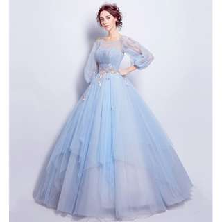Gown Collection - Tiffany Blue Vintage Style Puffy Gown