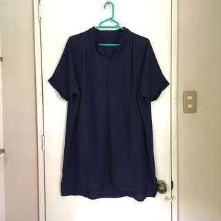 Plus size dark blue long blouse