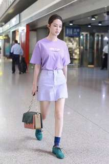 Off white tee and skirt set