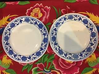 Vintage Blue White Porcelain Plates